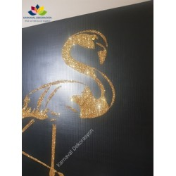 Gold Flamingo Desenli Simli Kanvas Tablo